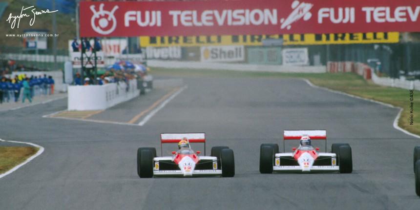 Ayrton Senna e Alan Prost disputando posição no GP de Suzuka em 1988